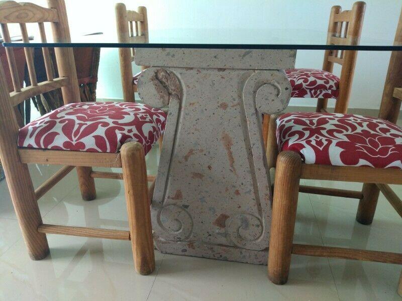 Comedor bases de cantera 4 sillas