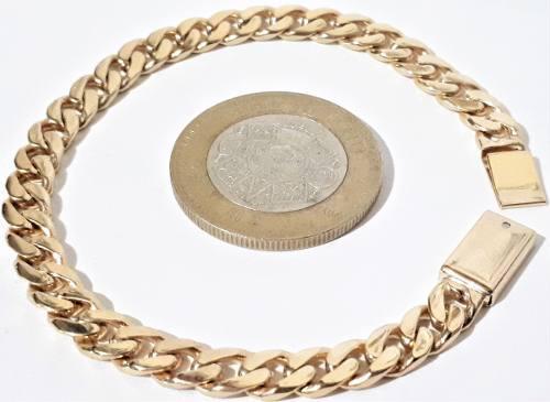 Esclava Barbada Cubana Oro Macizo 10k Pesa 15grs. Solid Gold