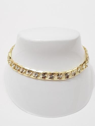 Esclava Barbada De Oro Laminado De 4 Mm Y 19 Cm Diamantada E
