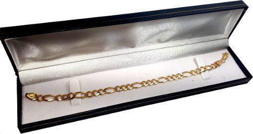 Esclava Pulso Figaro 3 X 1 Oro Macizo 10k Pesa 6gr 21cm. 5mm