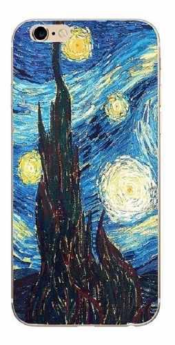 Funda Suave Para iPhone 6 6s 7 8 7plus 8plus Van Gogh Noche