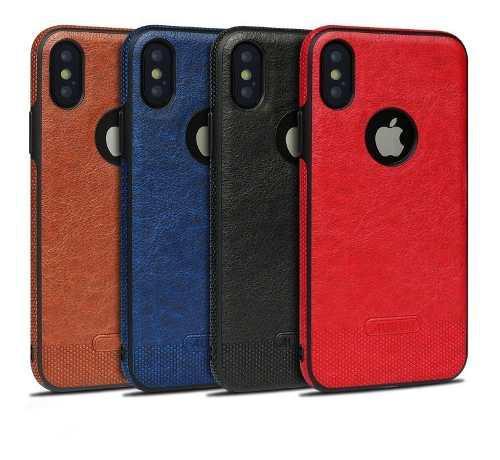 Funda iPhone 6s 7 8 8 Plus Leather Piel Pu + Mica 9h Aurum