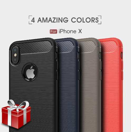 Mica + Funda Diseño Fibra Carbono iPhone X Xs 6 7 8 | Plus