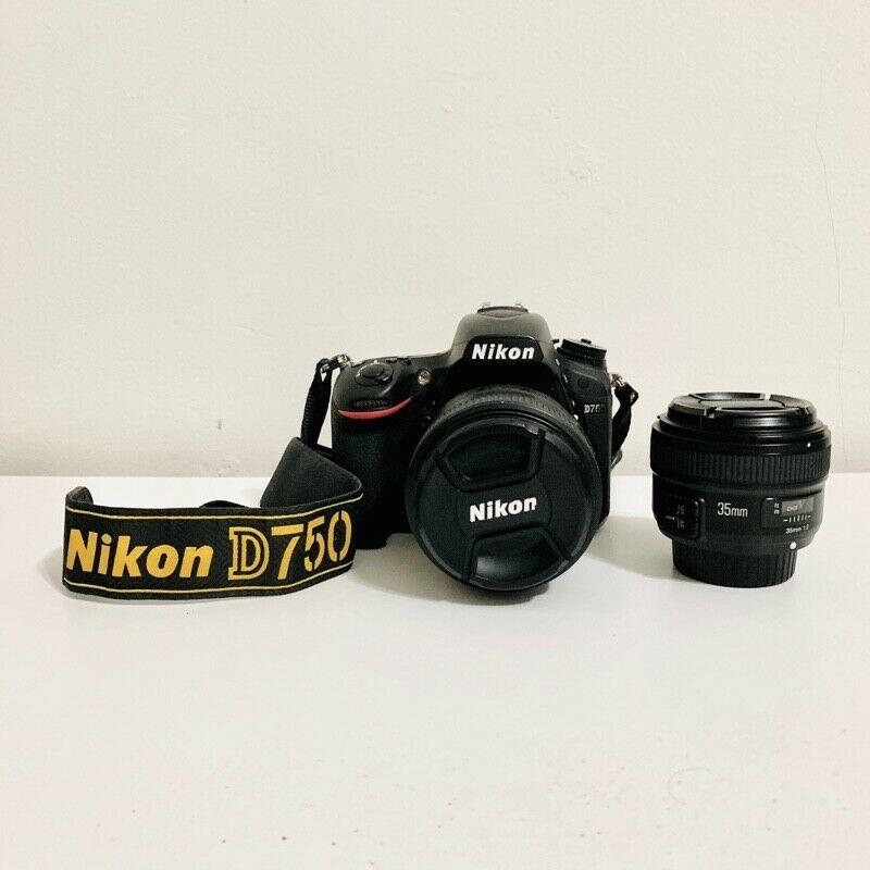 Nikon D750 + Lente NIKKOR 85 mm 1.8 + Lente 35 mm F