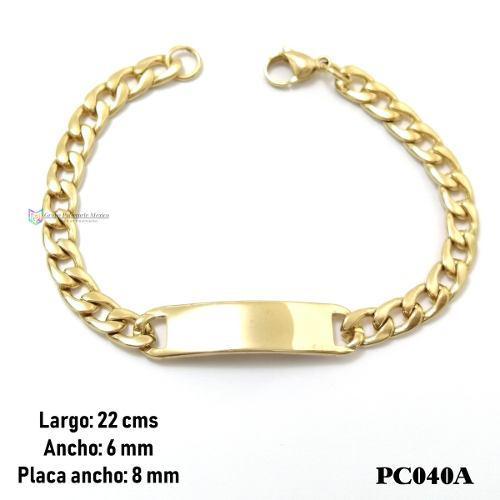 Pulsera Barbada 22cms Placa Acero Inoxidable Dorado