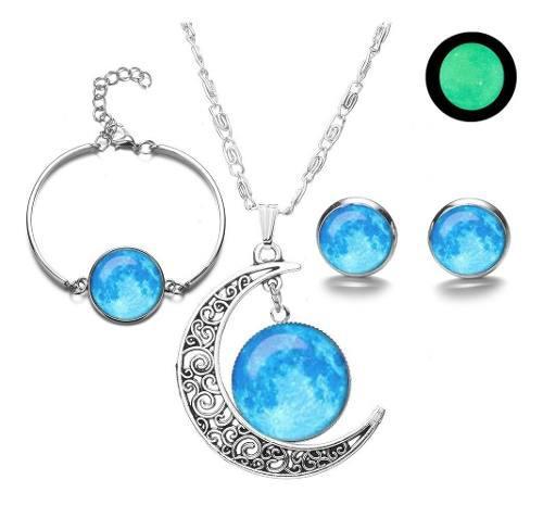 Pulsera Collar Y Aretes Luna Llena Brilla En Oscuridad Pack