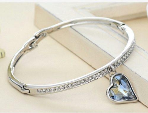 Pulsera Corazón Oro18kgp Cristal Azul Swarovski Elem Regalo