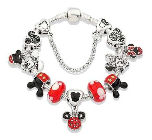 Pulsera De Moda Estilo Pandora Disney Mickey Y Mini P10898