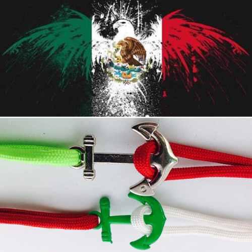 Pulsera De Paracord Con Ancla Bandera De Mexico
