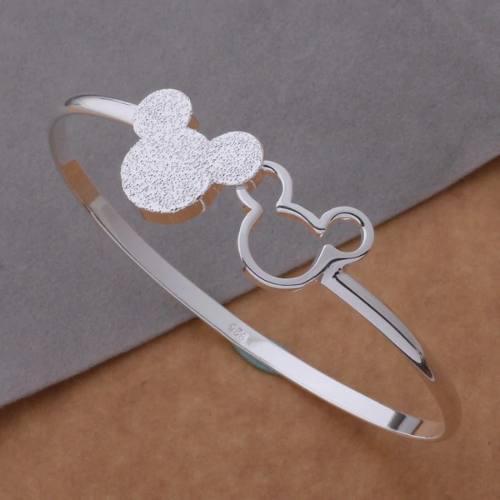 Pulsera De Plata Mickey Mouse Para Pareja Ajustable
