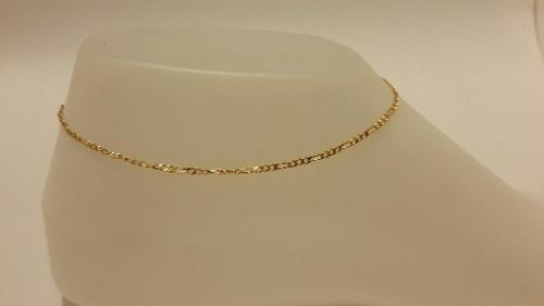 Pulsera De Tobillo De Oro Laminado De 25cm Tejido Figaro