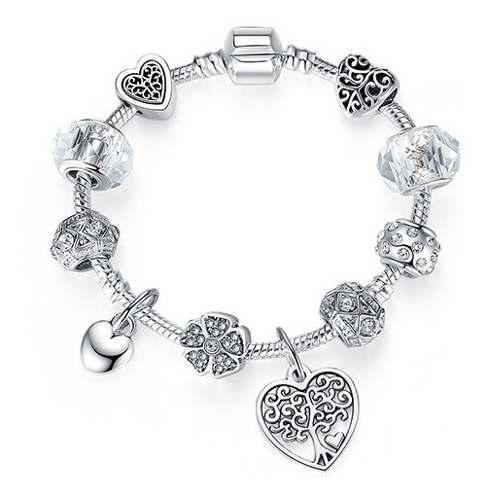 Pulsera Estilo Pandora Charms Plata Corazón Y Árbol Ps3863