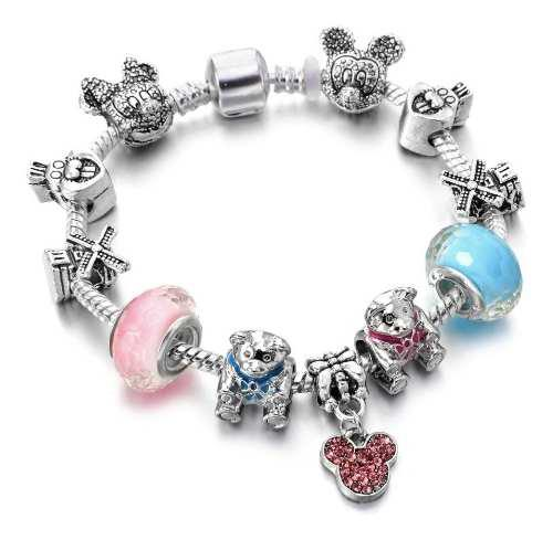 Pulsera Estilo Pandora De Moda Minni Y Mickey Mouse Disney