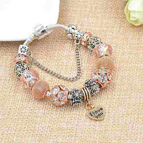 Pulsera Estilo Pandora Europeo Plata 925 I Love You 15 Charm