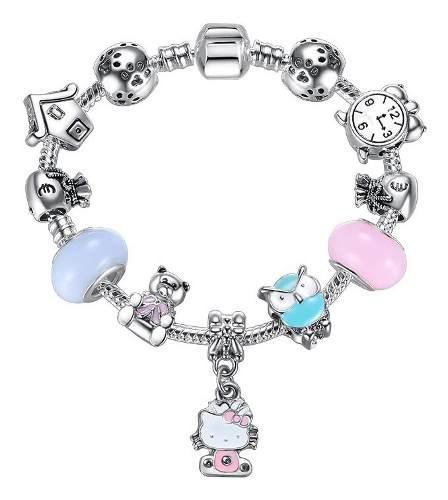 Pulsera Estilo Pandora Hello Kitty Con 11 Charms Ps3825