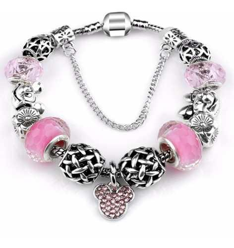 Pulsera Estilo Pandora Minnie Mickey Mouse Disney 13 Charms