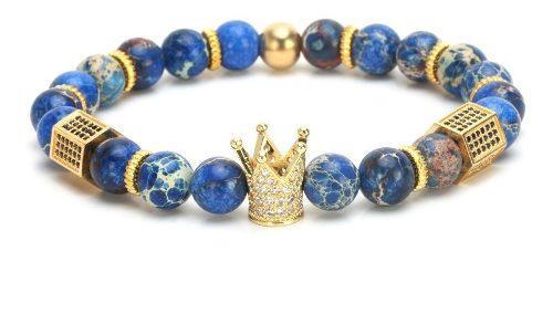 Pulsera Krasha Corona Piedra Natural Azul Y Acero Chapeado
