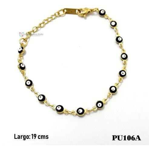 Pulsera Ojitos Negro 4mm Acero Inoxidable Dorado