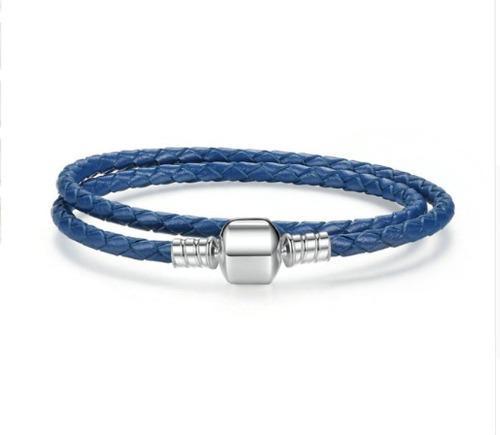 Pulsera Plata- Azul T17-18 Compatible Con Charms Pandora