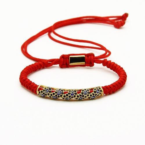 Pulsera Tibetana Roja Amuleto Budista Macrame Ojo Turco
