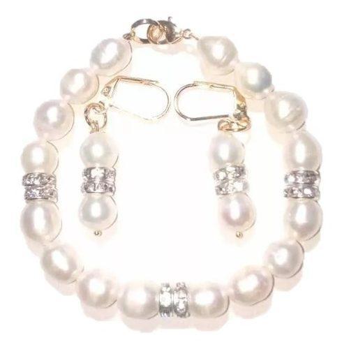 Pulsera Y Aretes Con Perlas Naturales Cultivadas A025