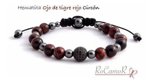 Pulsera #rocamor Hombre Ojo De Tigre Rojo, Hematita, Circón