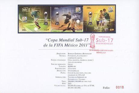 2011 Sub-17 Fifa Hoja Filateliaca C/ Sello Primer Dìa