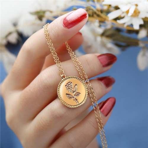 Collar Dije Moneda Flor Rosa Dorada Amiga Novia Hermoso