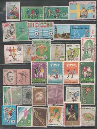 L640-lote De Timbres Mundiales Usados Temática Fútbol