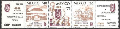 Mexico 1986 Inst Politecnico Tira De Timbres Nuevos Impecabl