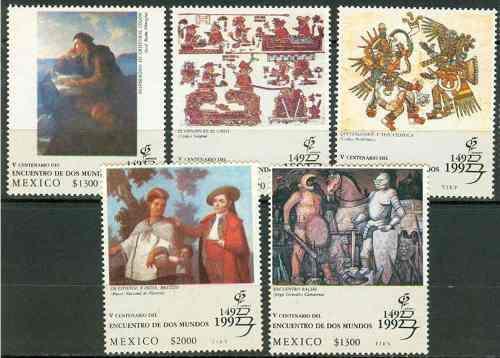Mexico 1992 Encuentro De Mundos 5 Timbres Nuevos Impecables
