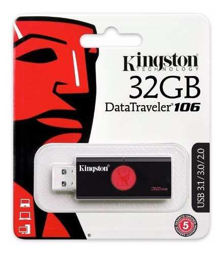 Memoria Usb 32gb Datatraveler Kingston Dt106 3.0 Negra Nueva