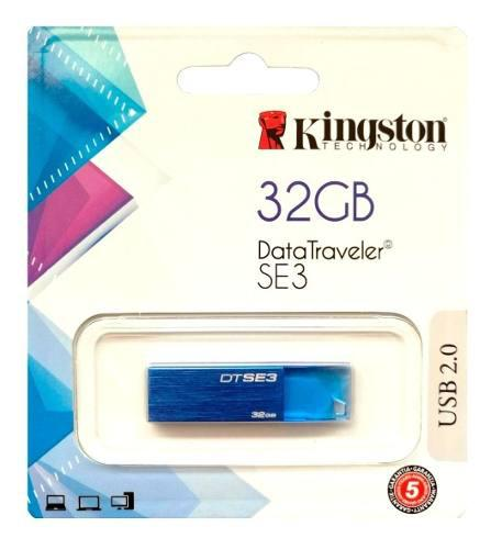 Memoria Usb 32gb Kingston Se3 Azul Diamante 2.0 Nueva
