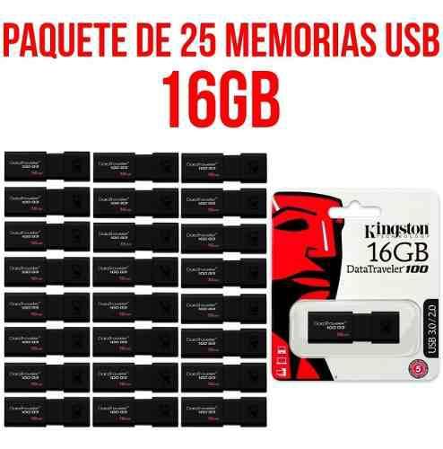 Paquete De 25 Memorias Usb 16gb Kingston Dt100g3/16gb