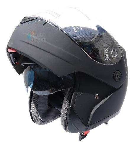 Casco Abatible Para Motocicleta Con Mica Y Gafas Integradas
