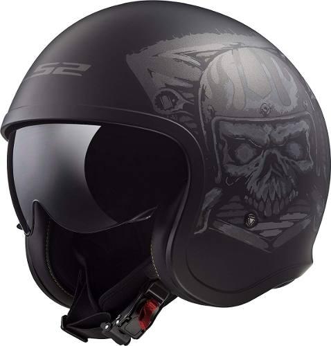 Casco Abierto 3/4 Ls2 Of599 Spitfire Skull Rider Negro Mate