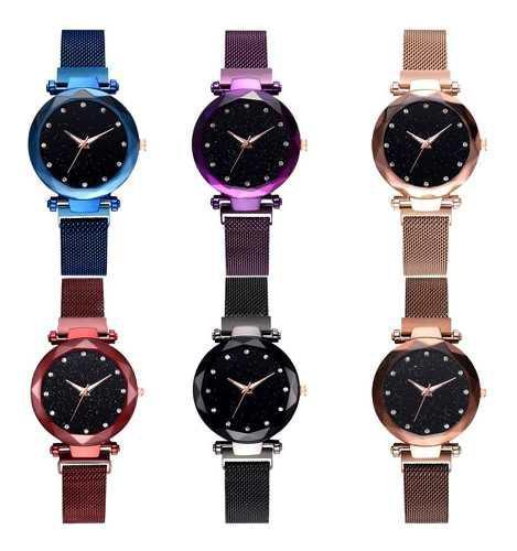 Lote 6 Relojes De Imán Mujer Corte Diamante Magnéticos