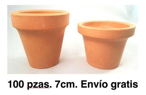 Paquete 100 Macetas De Barro De 7cm, Cajete, Terracota