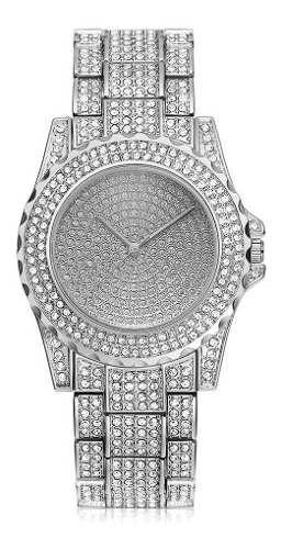 Reloj Metal Mujer Lujo Cristal Oro Diamantado Sin Marca B196