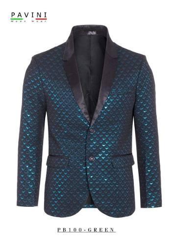 Saco Premium De Caballero Marca Pavini Azul/verde Pb100