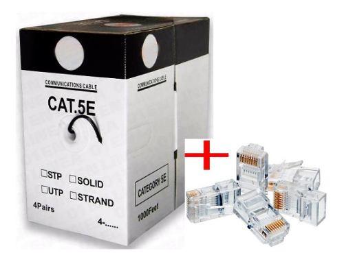 Bobina Cable De Red Utp 305m Cat5e Ethernet + 100 Plug Rj45