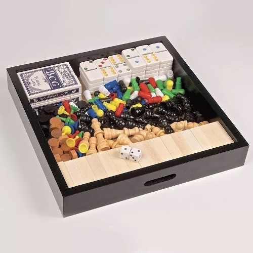 Set Caja Caja De Madera Multijuegos Juegos De Mesa 9 En 1