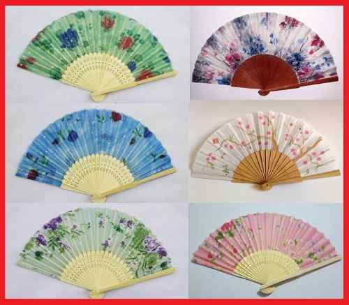 12 Abanicos De Tela Colores Con Madera Decorado Boda Recuerd