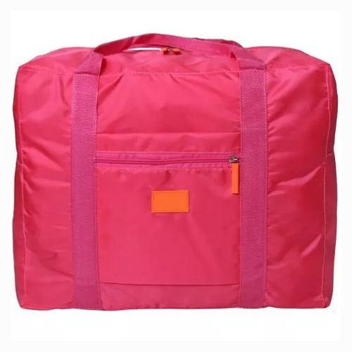 Bolsa Mochila Rosa Plegable De Viaje Impremeable M2961