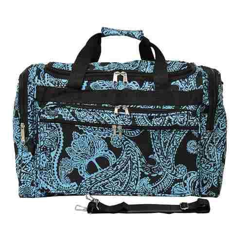 Equipaje 19 -inch Bolso De Viaje Bolsa, Negro Azul Paisley