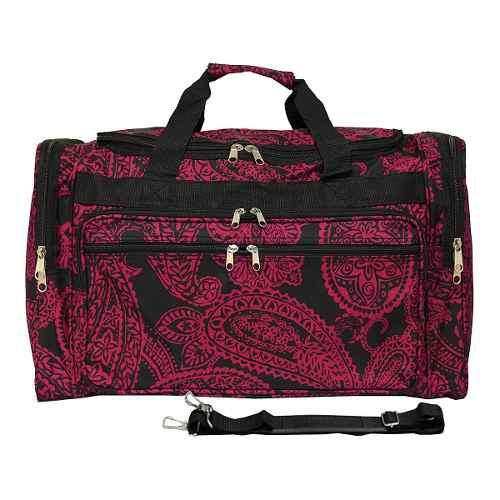 Equipaje 19 -inch Bolso De Viaje Bolsa, Negro Rosa Paisley