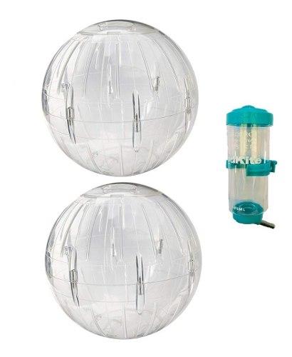 Esfera Hamster 18 Cm Diámetro C/base 2 Pz + Bebedero 125 Ml