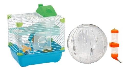 Jaula Hamster Sunny 28.9x22.2x30.1 + Esfera + Bebedero Extra