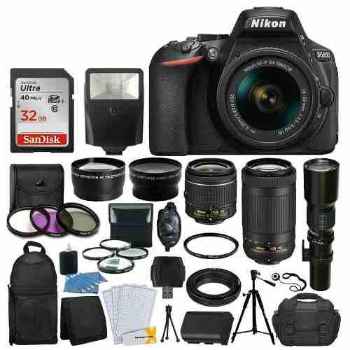 Nikon D5600 Con 18-55 Mm Vr + 70-300 Mm Vr + 500mm + 32gb