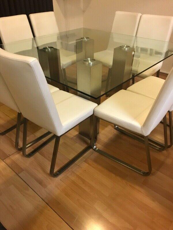 Comedor de cristal de 8 sillas